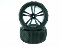 31310B Black Buggy Rear Tires and Rims 2P: E10XB / / / / E10XBL / / /